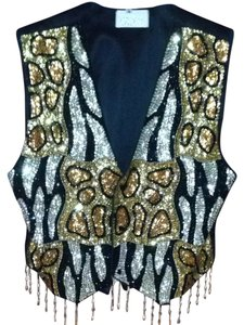 Cache Sequinned Animal Print Vest
