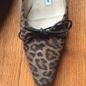 Manolo Blahnik Leopard brown/black Flats