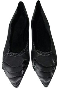Pedro Garcia Made In Spain Ruffle Satin Gray Flats