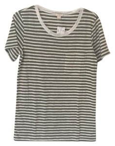 J.Crew T Shirt Olive, cream, silver shimmer
