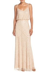 Adrianna Papell Champagne / Gold Embellished Blouson Gown Dress