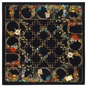 Gucci New Gucci Large Black Floral Silk Foulard Scarf 323150 1000