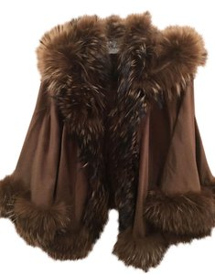 Genuine Fox Fur Lined Cashmere Cape Cape