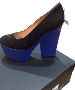 Céline Color-blocking Black and Blue Wedges