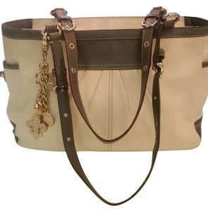 Coach Leather Satchel in Cream/Grey