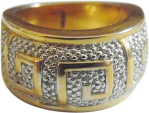 Technibond Technibond Greek Key Band Ring with Diamond Accents size 7.