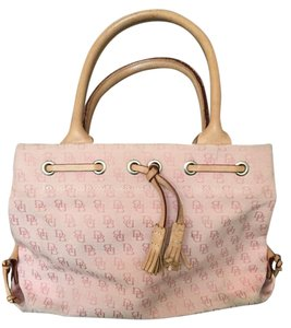 Dooney & Bourke Tassel Leather Pink Logo Canvas Satchel in Pink/Tan