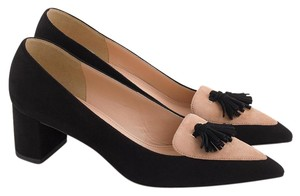J.Crew Suede Black White Pointed Toe Tassle Pumps