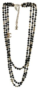 Chanel Chanel Black Gold Sky Mirror Beads Triple Strand Long Necklace