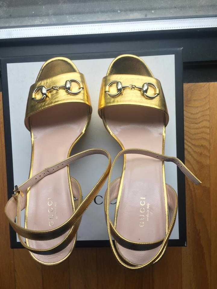d694e6cc8 Gucci Gold Horsebit Detailed Platform Sandals Size US 11 Regular (M ...