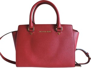 Michael Kors Saffiano Leather Satchel in Cherry