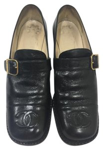 Chanel Loafers 37.5 8 Leather Black Flats