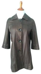 Vince Chocolate Leather Car Coat Brown Leather Jacket