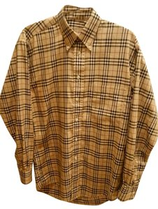 Burberry London Long Sleeve Button Down Shirt Tan & Black Nova Check