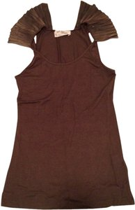 Torn by Ronny Kobo Sleeveless Out T Shirt brown