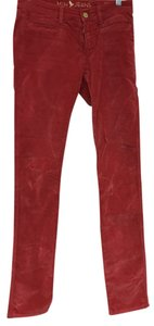 MiH Jeans Faded Velvet Skinny Pants Red