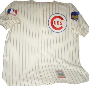 Mitchell & Ness Throwback And Chicago Cubs Ernie Banks Button Down Shirt Rare wool Cubbies Jersey