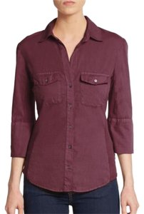 James Perse Cotton Button Down Shirt Raisin