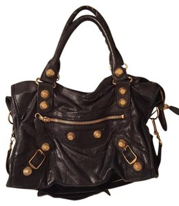 Balenciaga Leather Studded Tote in Black