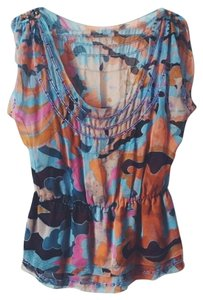 Diane von Furstenberg Silk Patterned Beaded Peplum Top