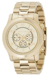 Michael Kors Chrono Runway Gold-Tone Stainless Steel Bracelet Watch 44mm MK8077
