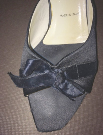 Prada Black Satin with Velvet Bow Mules