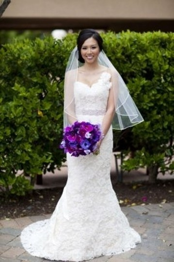 Ivory Medium With Thin Satin Ribbon Edge Bridal Veil