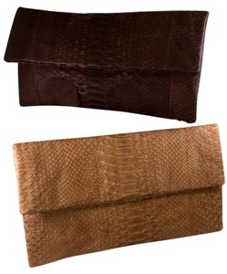 Primary Tan Python Leather brown/tan Clutch