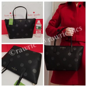 Kate Spade Zip Top Shimmery Tote in Black