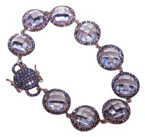 Vintage Swarovski Crystal Bracelet Rose Gold Plated Purple Art Deco