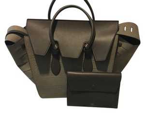 Céline Celine Leather Tote in Gray and Olive Brown