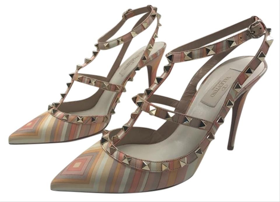 Valentino Pink Rockstud Studded Native Sz. Couture 1975 Strappy Sandals Sz. Native 39 Euro Pumps 7b308d
