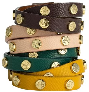 Tory Burch Tory Burch Logo Studded Double Wrap Bracelet