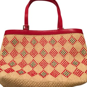 Isabella Fiore Satchel in Straw/red