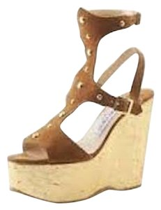 Jimmy Choo Gladiator Wedge Suede Studded Tan/Gold Wedges