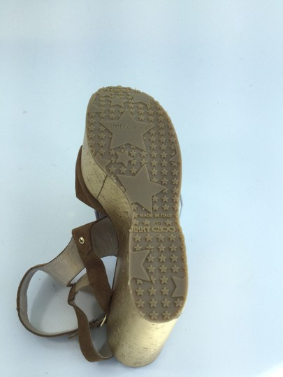 Jimmy Choo Gladiator Suede Studded Tan/Gold Wedges