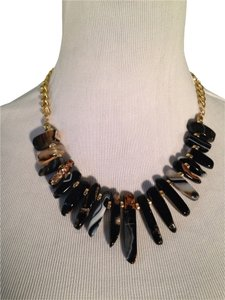 Panacea Cache Graduated Black Agate Prism Bib Necklace