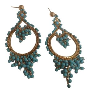 Miguel Ases 14 k goldfil and turquoise earrings