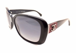 a6b2e5d5f46bd Chanel Chanel Black With Burgundy leather Trim Large CC logo Sunglasses