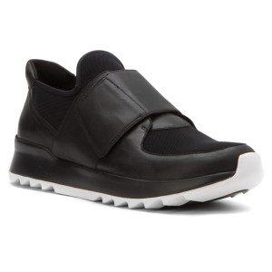 Eileen Fisher Leather Lining Leather + Mesh Upper Adjustable Strap Sporty Comfy Black Athletic