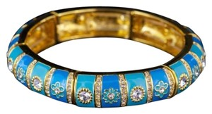 Joan Rivers Gold Toned, Blue Enamel, Austrian Crystals, link Bracelet,