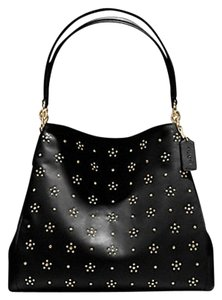 Coach Studded Gold Leather Shoulder Bag
