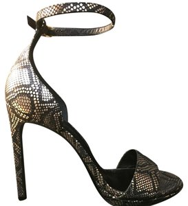 Saint Laurent Snake Print Black/Gold Pumps