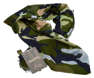 Valentino Valentino Multicolored Army Camouflage Print Scarf Cashmere Blend