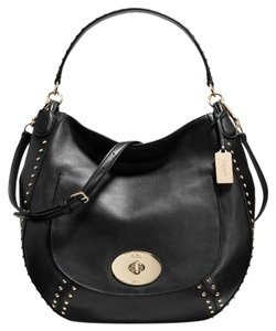 Coach Studded Gold Leather Large Satchel in Black