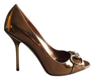 Gucci Leather Stacked Peep Toe Bronze Pumps