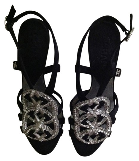 Chanel Black Satin Sandals