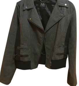A|X Armani Exchange Black and gray and blue Womens Jean Jacket