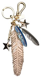 Coach NWT Coach Grey Birch Multi Feathers Stars Bag Charm Fob
