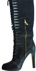 Matiko Black Leather Knee High Boots